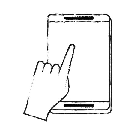 hand tapping on smartphone screen  icon image vector illustration design  black sketch line