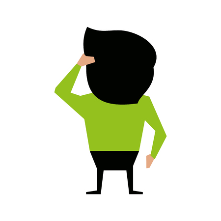 rearview: man scratching head cartoon backside icon image vector illustration design Illustration