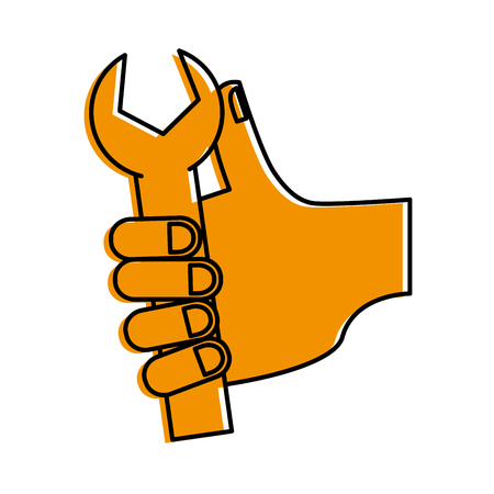 hand holding wrench tool icon image vector illustration design  yellow color Illustration