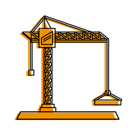 construction crane icon image vector illustration design  yellow color