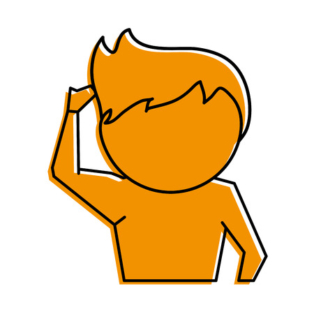 man scratching head cartoon icon image vector illustration design  yellow color