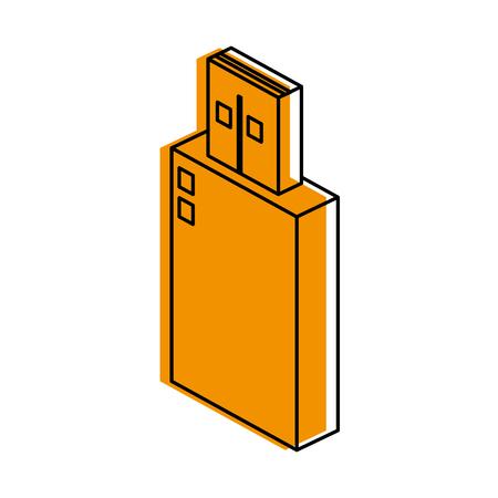 usb drive icon image vector illustration design  yellow color Illustration