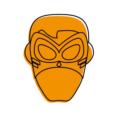 superhero mask avatar icon image vector illustration design  yellow color Illustration