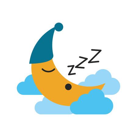 crescent moon cartoon sleeping on clouds sleep related icon image vector illustration design Illustration