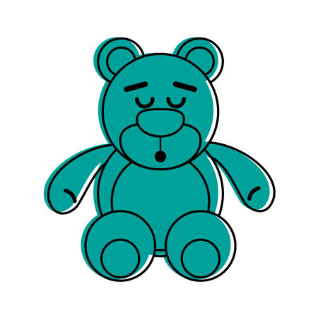teddy bear sleep related icon image vector illustration design  blue color Illustration