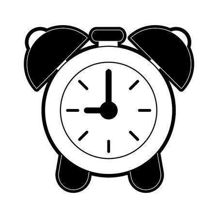 analog alarm clock icon image vector illustration design  black and white