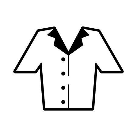 shirt button up clothes icon image vector illustration design  black and white Ilustração