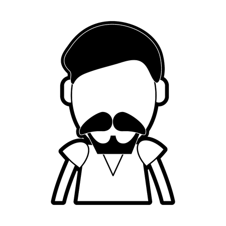 man with mustache avatar icon image vector illustration design  black and white