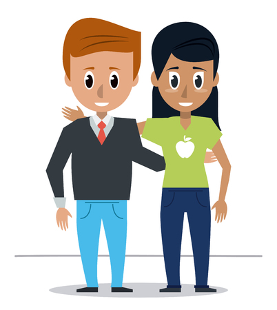 blondie: young couple of friends icon vector illustration graphic design Illustration
