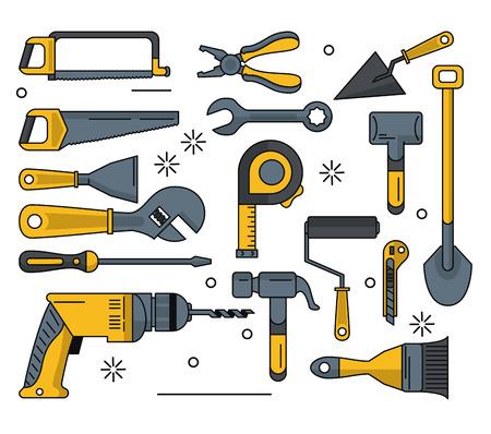 construction tools icon set icon vector illustration graphic design Illustration