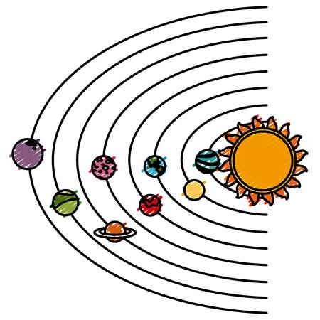 Solar system cartoon icon vector illustration graphic design