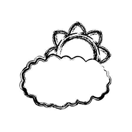 communication cartoon: Sun and cloud icon vector illustration graphic design