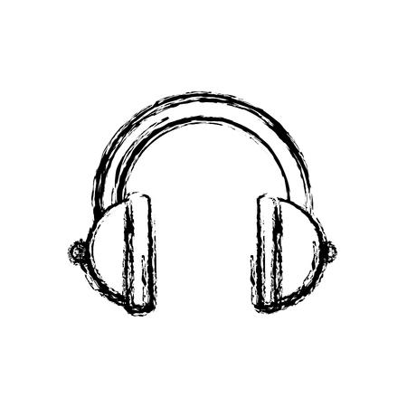 Music headphones device icon vector illustration graphic design Ilustração