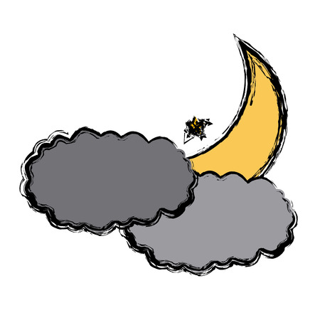 dark clouds: Moon and cloud icon vector illustration graphic design