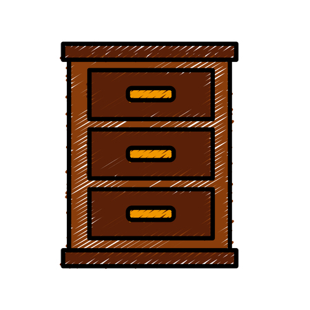 Wooden nightstand isolated icon vector illustration graphic design