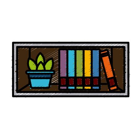 Shelf with books icon vector illustration graphic design