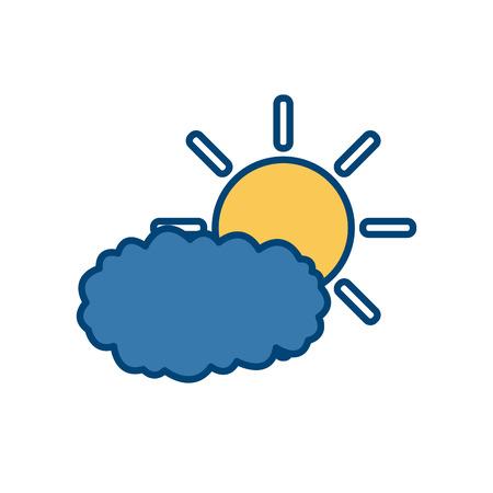 Sun and cloud icon vector illustration graphic design