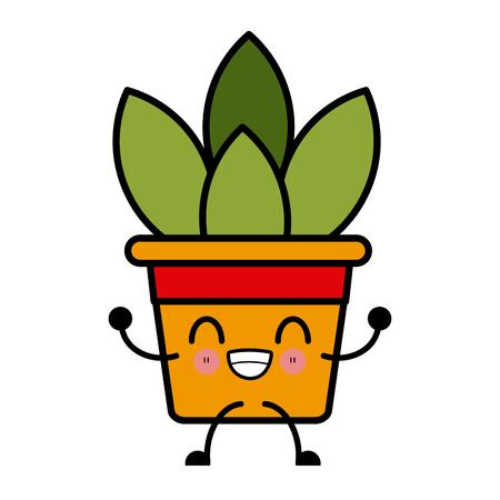 Plant in vase cute cartoon icon vector illustration