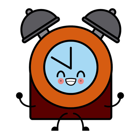 Clock with bells cute cartoon icon illustration.
