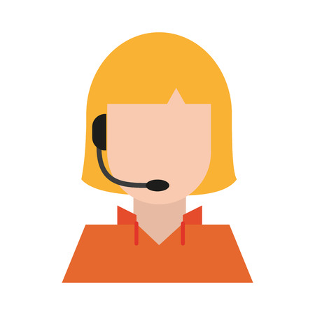 woman avatar with headset icon image vector illustration design