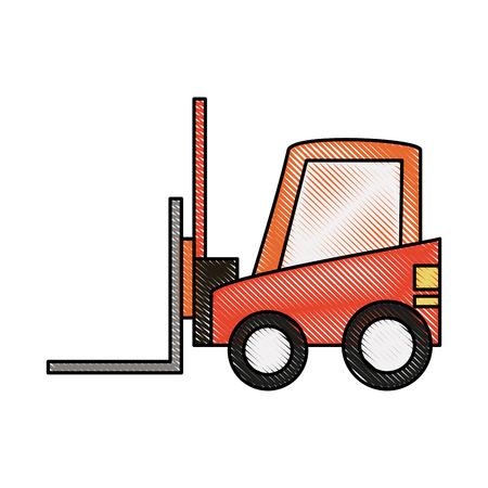 wood crate: forklift sideview  icon image vector illustration design Illustration