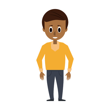 man with dark skin young adult wearing yellow sweater icon image vector illustration design Illustration