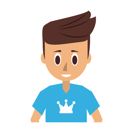 man young adult wearing blue t shirt with crown print icon image vector illustration design
