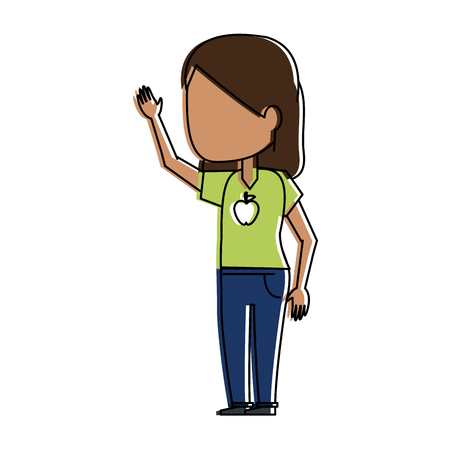 woman avatar wearing green t shirt with apple print icon image vector illustration design