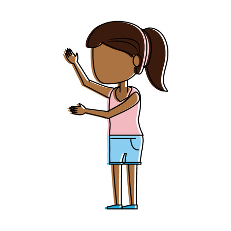 woman avatar with dark skin wearing pink shirt and shorts icon image vector illustration design