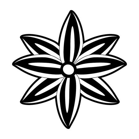 anise star seed icon image vector illustration design  black and white