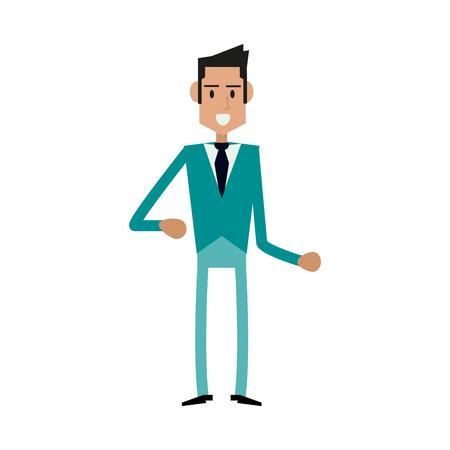 guy standing: happy businessman cartoon icon image vector illustration design Illustration