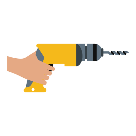 hand holding electric drill tool icon image vector illustration design