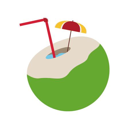 coconut cocktail tropical icon image vector illustration design