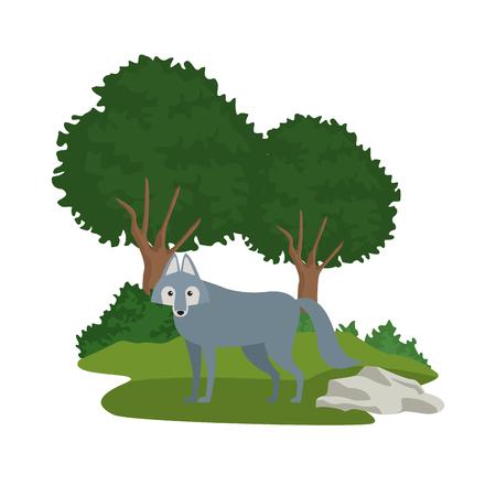 Forest animals cartoon over white background vector illustration graphic design
