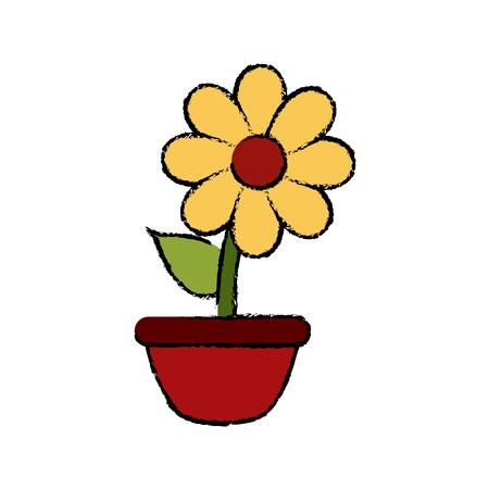 Bloem in vaas icoon vector illustratie grafisch ontwerp
