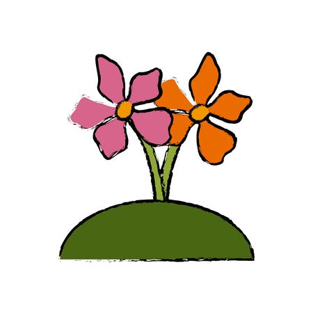 Beautiful decorative flowers icon vector illustration graphic design Illustration