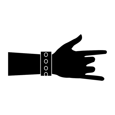 human hand rock and roll gesture icon vector illustration