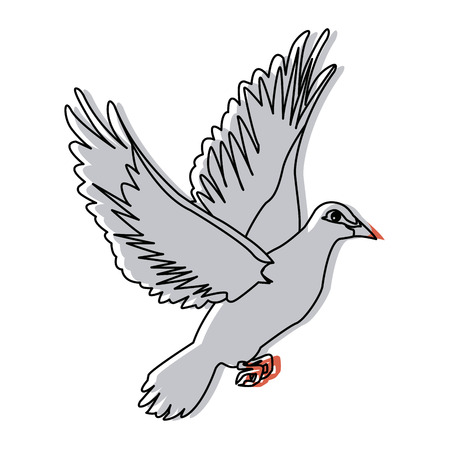 hopeful: flying dove on white background as symbol of peace vector illustration