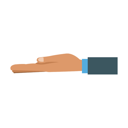 extended hand ready to accept gesture vector illustration
