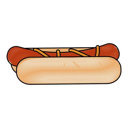 hot dog: Hot dog fast food icon Illustration