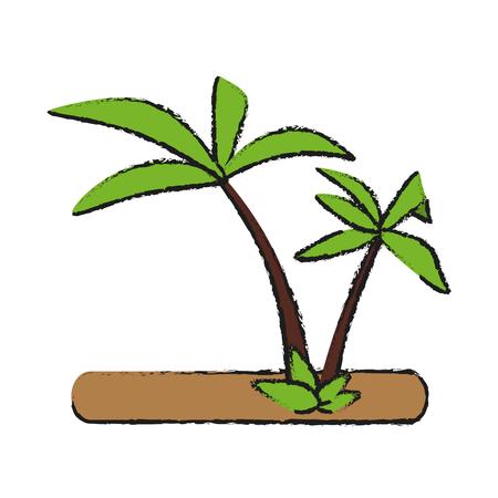 cartoon umbrella: tropical island with palm trees icon image vector illustration design Illustration