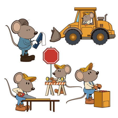 Construction mouse workers funny cartoon icon vector illustration graphic design Illustration