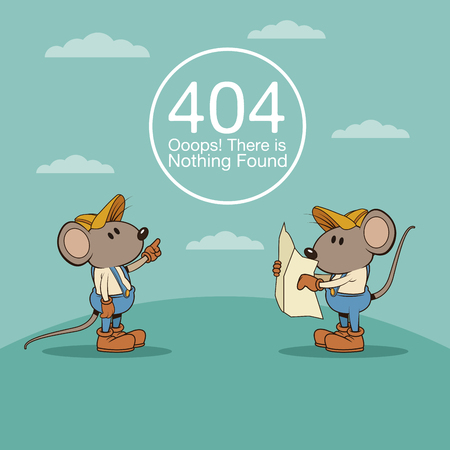 web site design template: error 404 with funny mouses cartoon icon vector illustration graphic design Illustration