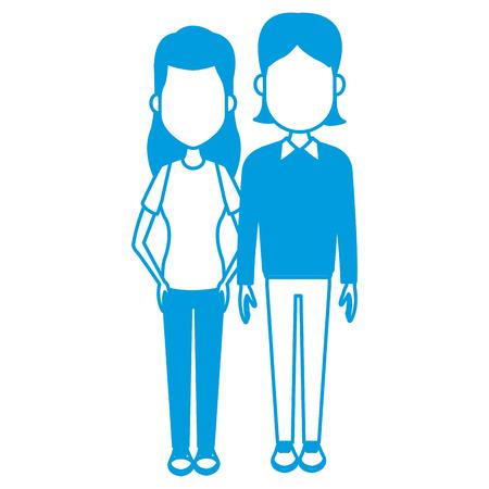 Young couple cartoon icon vector illustration graphic design Illustration