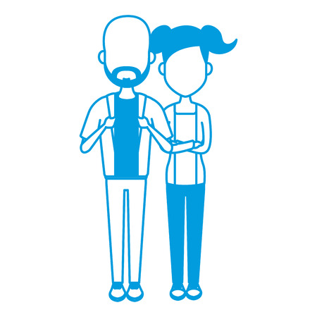 Young couple cartoon icon vector illustration graphic design Illustration