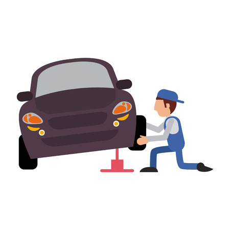 worker changing car tire workshop icon image vector illustration design Illustration