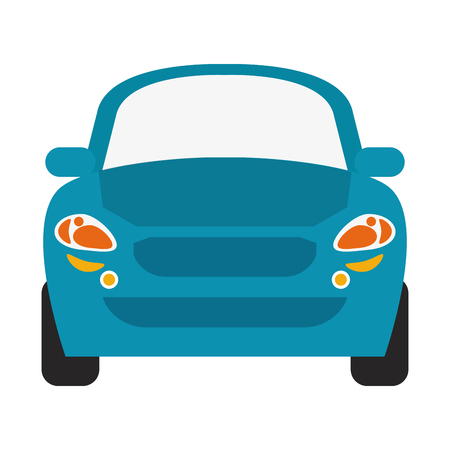 blue car frontview icon image vector illustration design
