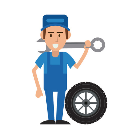worker holding wrench and tire car workshop icon image vector illustration design Illustration