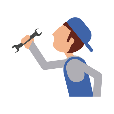 repair worker or handyman holding wrench sideview  icon image vector illustration design