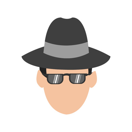 suspicious man or criminal with hat and sunglasses icon image vector illustration design